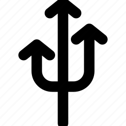 arrow, arrows, creative, direction, fork, grid, move, shape, three, three-arrow-fork, up icon