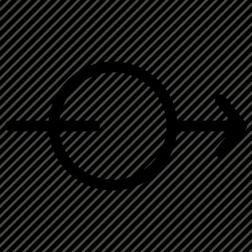 arrow, arrows, circle, creative, direction, grid, line, move, shape, through icon