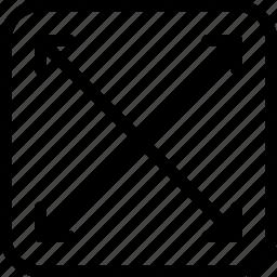 arrow, arrows, creative, enlarge, full, full-screen, grid, line, magnify, maximize, shape icon