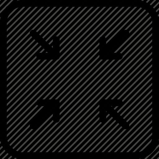 arrow, arrows, creative, decrease, direction, grid, line, minimize, move, reduce, shape, small icon