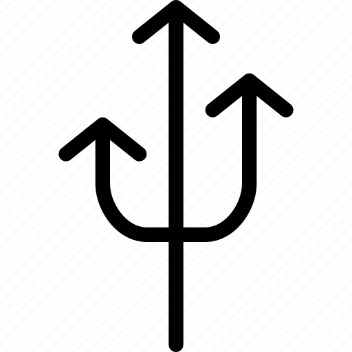 arrow, arrows, creative, direction, fork, grid, line, move, shape, three, three-arrow-fork, up icon