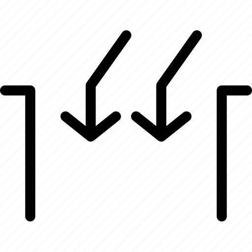 arrow, arrows, creative, direction, down, gap, grid, inside, line, move, shape icon