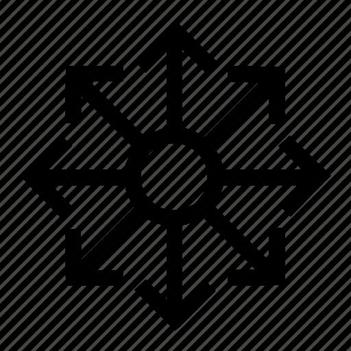 arrow, arrows, brightness, circle, connector, loop icon