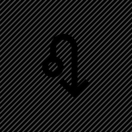 arrow, arrows, circle, connection, down, way icon