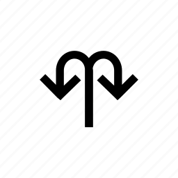 arrow, arrows, down, merge, twoay, uturn, way icon