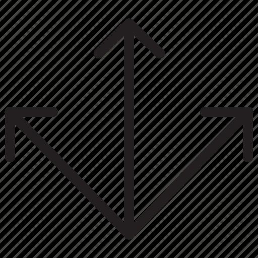3 ways, arrow, arrows, crossroad icon icon