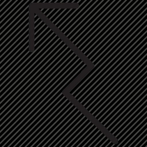 arrow, arrows, curved icon, graph line icon