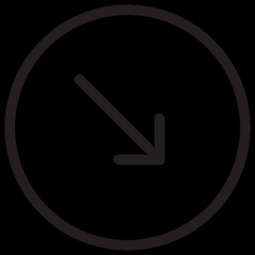 arrow, arrows, down, right icon