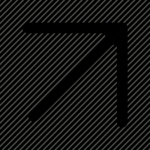 arrows, diagonal, right, top icon