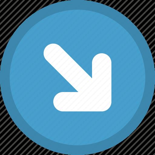 arrow, bottom, direction, pointer, right icon