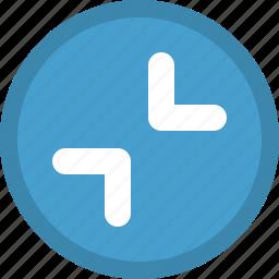 arrows, diagonal, direction, inwards icon