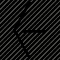 arrow, arrows, back, creative, grid, left, line, move, pointer, previous, shape icon