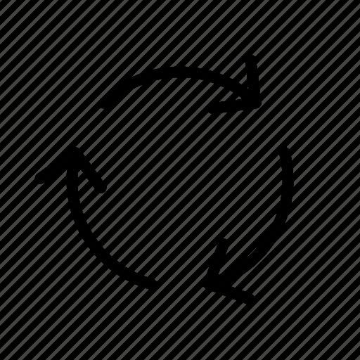 arrow, three rotate, way icon