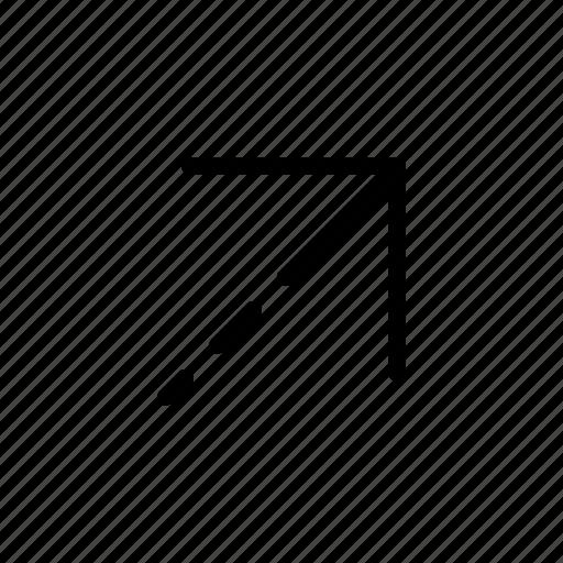 arrow, upper right, way icon