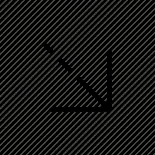 arrow, bottom right, way icon