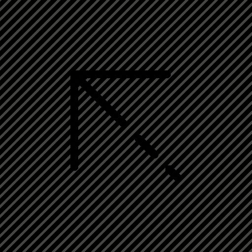 arrow, upper left, way icon