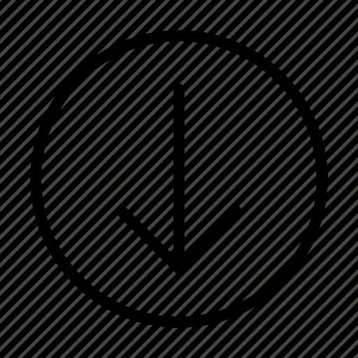 arrow, bottom, way icon