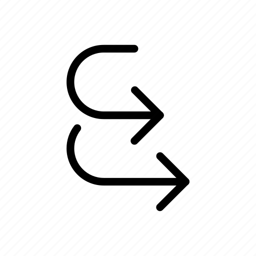 arrow, move, together, way icon
