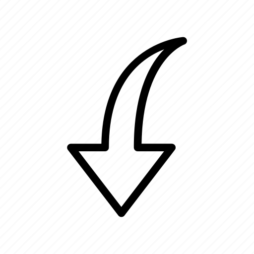 arrow, down, download, in, way icon
