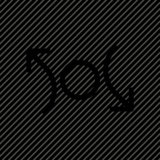 arrow, center, cross, way icon