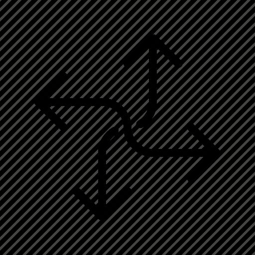 arrow, cross, four way, way icon