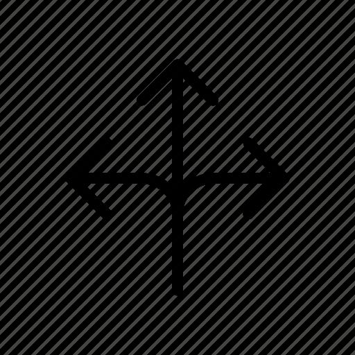 arrow, cross, milestone, three way, way icon