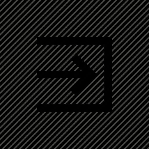 arrow, box, inside, left, light, sign icon