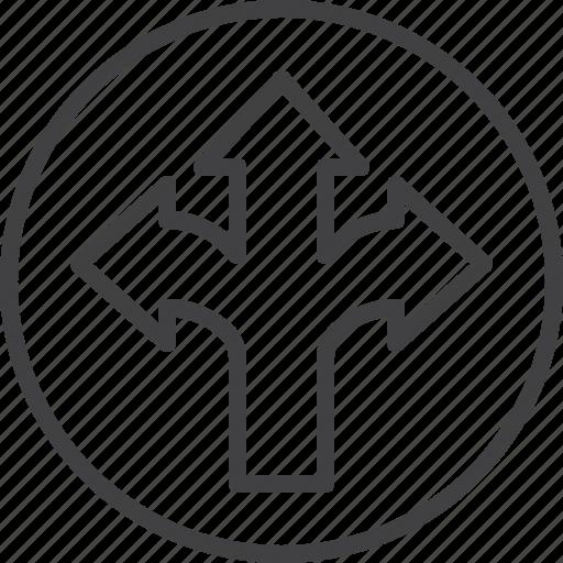 arrows, direction, three, way icon