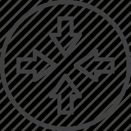 arrows, collapse, collide, compress, four icon