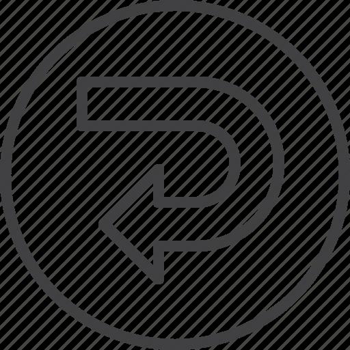 arrow, return, rotation, undo icon