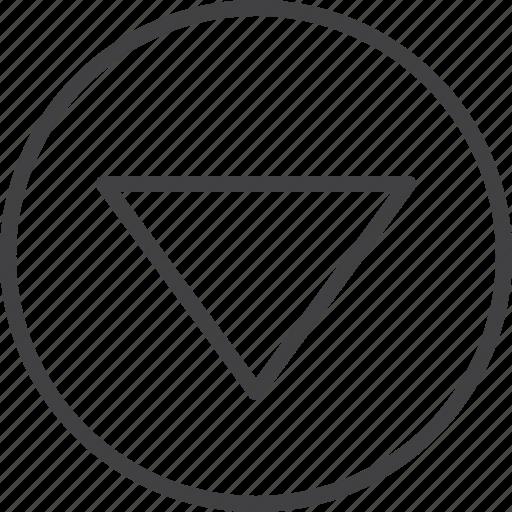 arrow, down, download, triangle icon