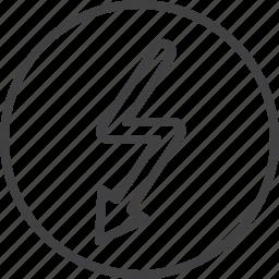 arrow, bolt, high, voltage icon
