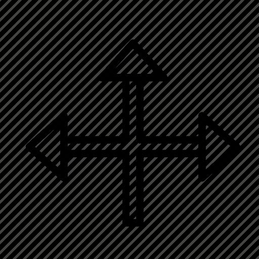 arrow, cross, direction icon