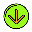 arrow, direction, down icon