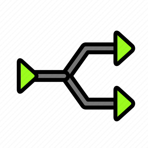 arrow, direction, intersection icon