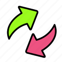 arrow, direction, recirculate icon