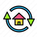 arrow, direction, house, recycle icon