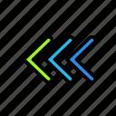 arrow, direction, left, triple icon