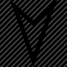 arrow, down, pointer, sharp icon