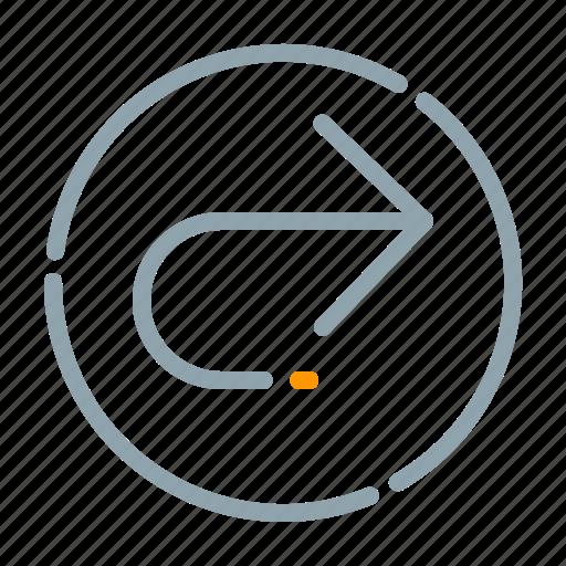arrow, circle, right, turn icon