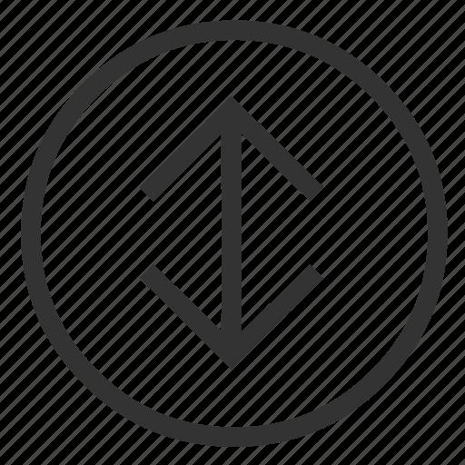 arrow, circle, stretch, vertical icon
