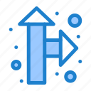 direction, pointer, right, up icon