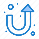 arrow, sign, turn, u icon