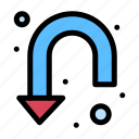 arrow, down, sign, turn, u icon