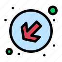 arrow, down, left icon