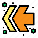 arrows, fast, forward, left icon