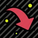arrow, down, right, share
