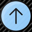 circle, arrow, up
