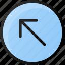 circle, arrow, up, left