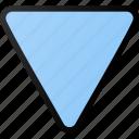 triangular, arrow, down